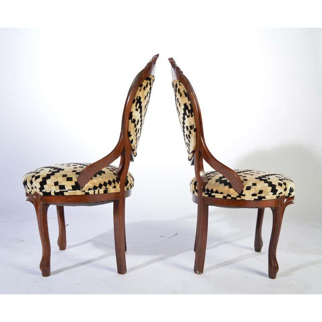Victorian Parlor Chairs Having Carved Mahogany Frames With Art Deco Upholstery For Sale - Image 4 of 8