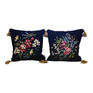 Vintage Needlepoint Pillows - a Pair For Sale