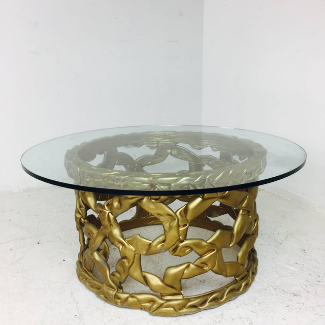 "Tony Duquette Gold ""Ribbon"" Coffee Table in the Style of Tony Duquette For Sale - Image 4 of 6"