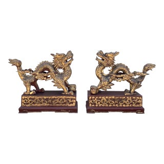 Antique Chinese Gilt & Red Lacquer Carved Wooden Dragons - A Pair For Sale