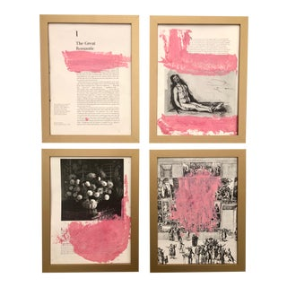 """The Great Romantic"" Pink and White Acrylic Paintings-Set of Four For Sale"