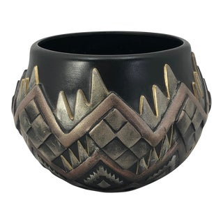 1980s Art Deco Black and Metallic Ceramic Planter or Vase For Sale