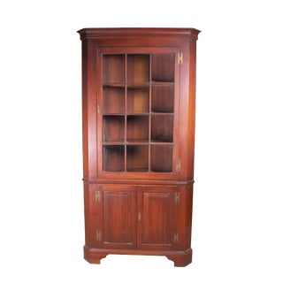 Henkel Harris Solid Cherry 12 Pane Chippendale Style Corner Cabinet For Sale