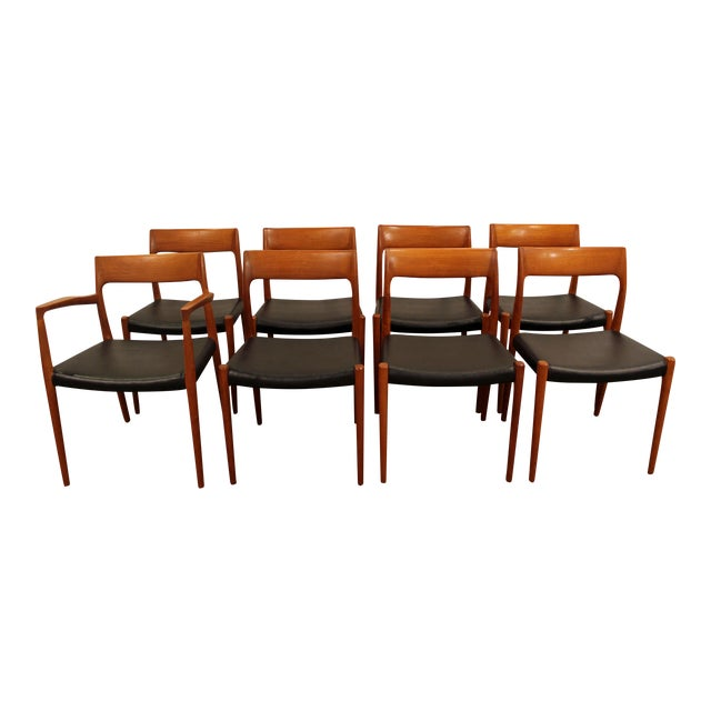 Danish Modern Niels Moller #77 Teak Dining Chairs - Set of 8 For Sale