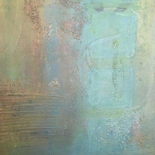 Abstract Aqua Textural Painting - Image 2 of 6