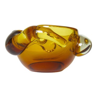 Vintage Italian Hand Blown Murano Amber Bowl by Pino Signoretto For Sale