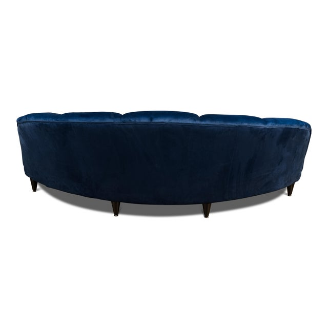 Sarreid Ltd. Dark Blue Velvet Seashell Sofa For Sale - Image 4 of 6