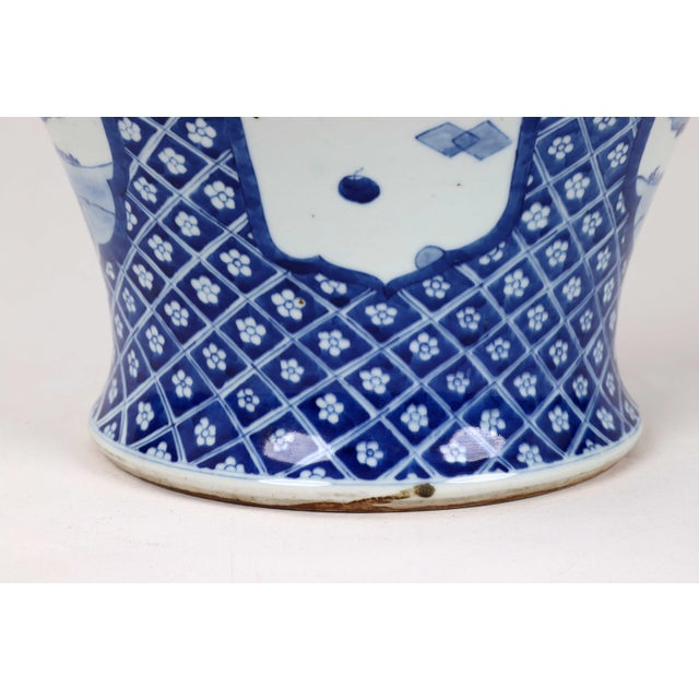 Ceramic Early 20th Century Vintage Blue White Temple Jar For Sale - Image 7 of 13
