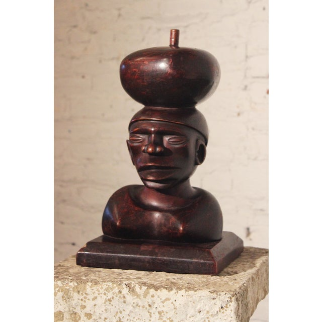Tribal Ironwood Hand-Carved Woman's Bust - Image 3 of 8