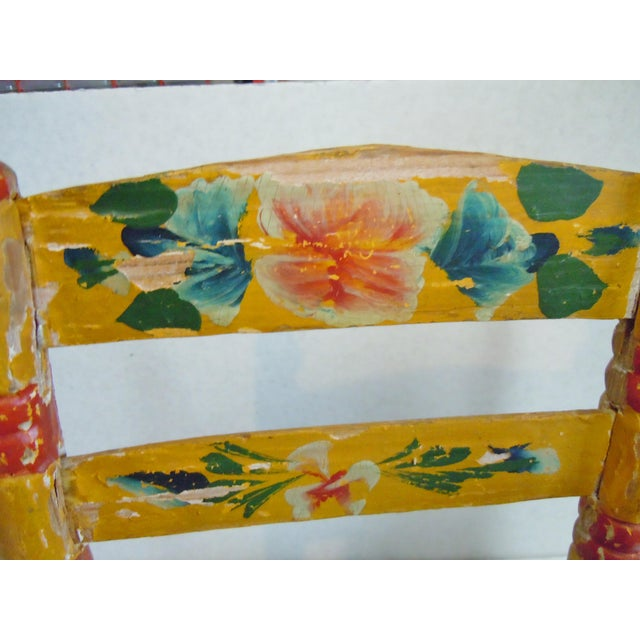 1900's Rustic Childs Chair With Rush Seat For Sale - Image 5 of 12