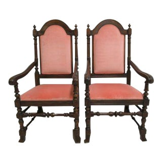 Jacobean Charter Oak Ethan Allen Dining Room Arm Chairs - a Pair For Sale