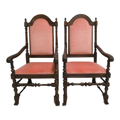 Jacobean Charter Oak Ethan Allen Dining Room Arm Chairs