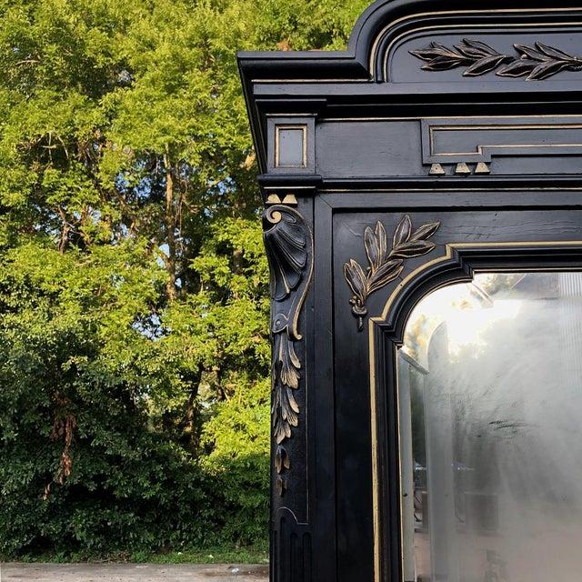 Black 19th Century French Napoleon III Ebonized Armoire For Sale - Image 8 of 13