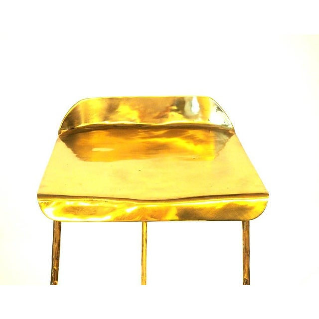 Misaya Hand-Sculpted Brass Stool, Misaya For Sale - Image 4 of 5
