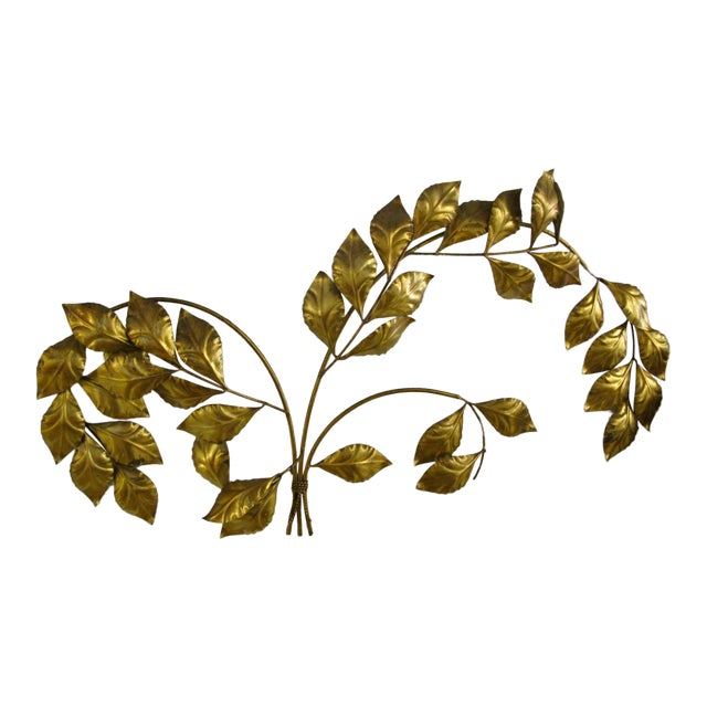 Vintage Mid Century Hollywood Regency Italian Gilded Leaves Wall Sculpture For Sale