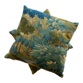 Scenic Flora Green Trees Linen Print Pillows - a Pair For Sale