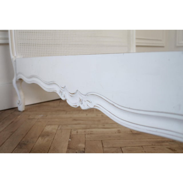 Reproduction Twin Carved and Painted Louis XV Style French Bed With Cane For Sale - Image 9 of 12