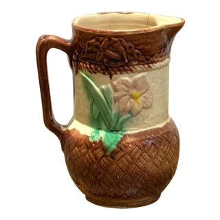 Majolica Pitcher With Flowers For Sale