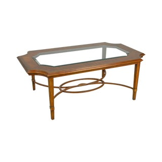 Maitland Smith Regency Style Satin Wood Inlaid Glass Top Coffee Table For Sale