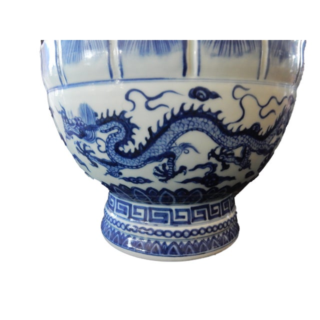Asian B & W Lotus Flower Vase w/Dragon For Sale - Image 3 of 10