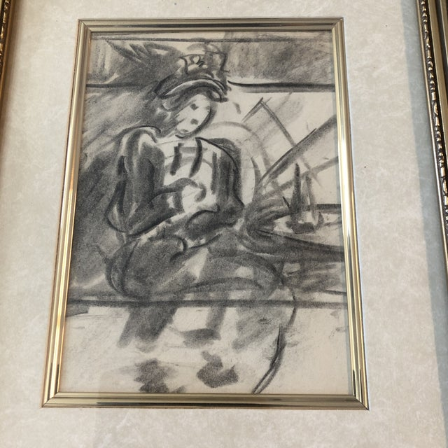 Original charcoal drawing on paper unsigned sketch 5 x 7 overall size with vintage frame is 11 x 13