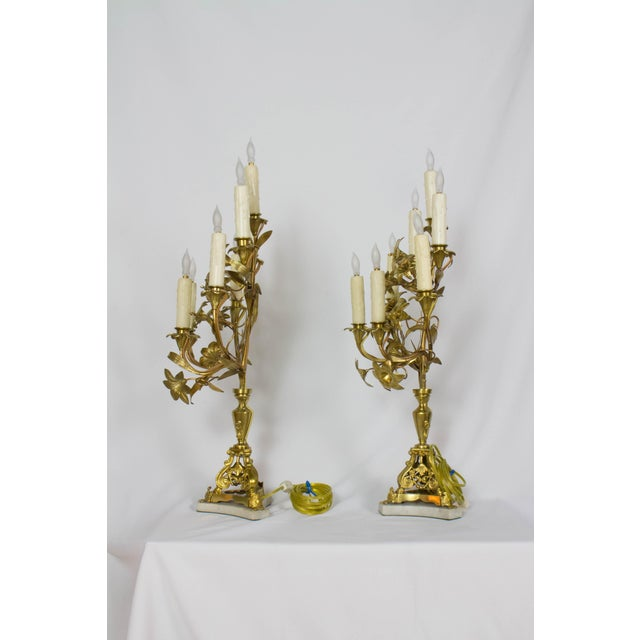 Napoleon III Mid 19th Century Vintage French Lily Candelabra- A Pair For Sale - Image 3 of 11