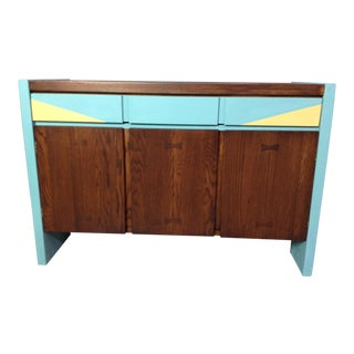 Mid-Century Blue & Yellow Accent Sideboard