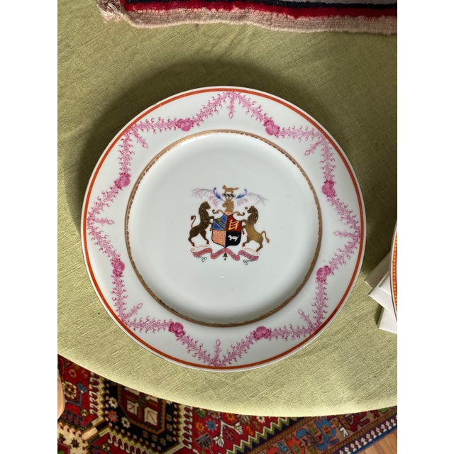 French Antique Corsican French-Italian Coat of Arms Sola Virtue Invest Plates - a Pair For Sale - Image 3 of 10