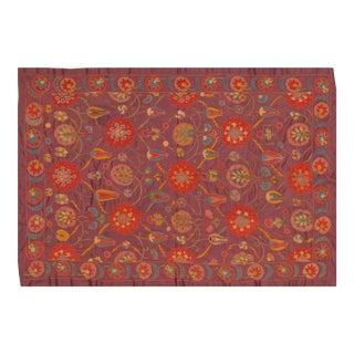"Uzbeki Purple Silk on Silk Suzani Textile- 4'8″x6'10"" For Sale"