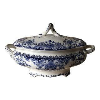 Antique Belgium Dordrecht Blue Oval Soup Tureen With Lid For Sale