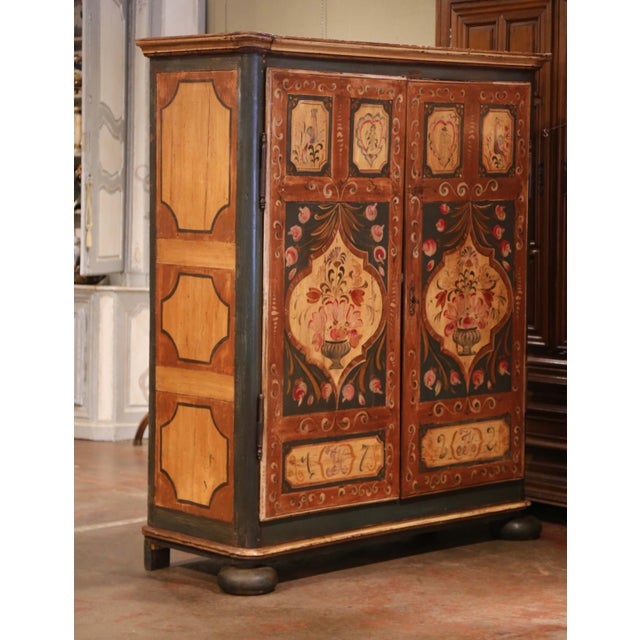 Early 19th Century French Pine Two-Door Painted Armoire From Alsace-Lorraine For Sale - Image 9 of 13