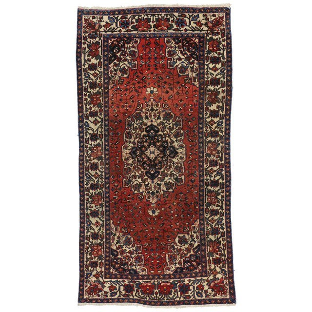 Mid 20th Century Vintage Mid-Century Jacobean Style Persian Mahal Gallery Rug - 5′1″ × 9′11″ For Sale - Image 5 of 5