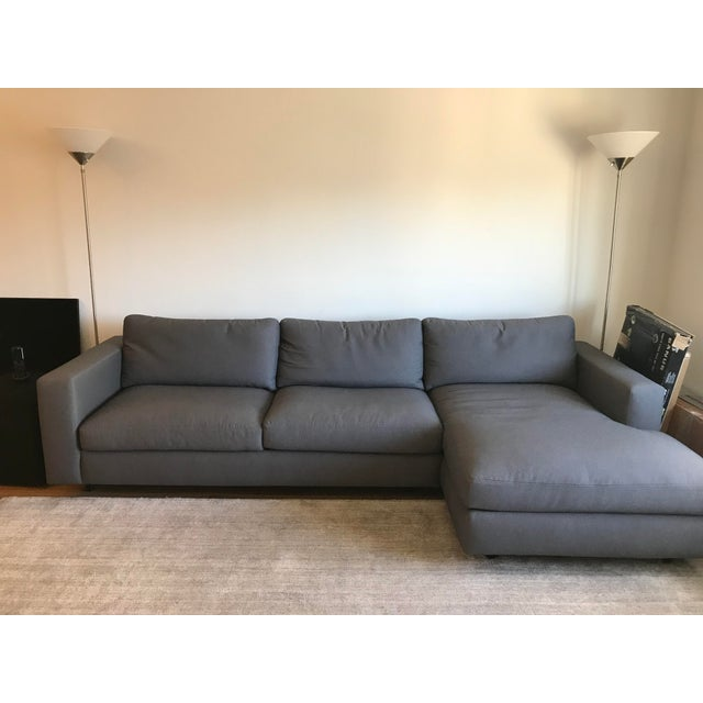Mid-Century Modern DWR Reid Gray Left Chaise Sectional For Sale - Image 3 of 6