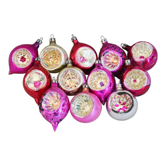 Pink & Red Vintage Colorful Christmas Tree Ornaments W/Box - Set of 12 For Sale