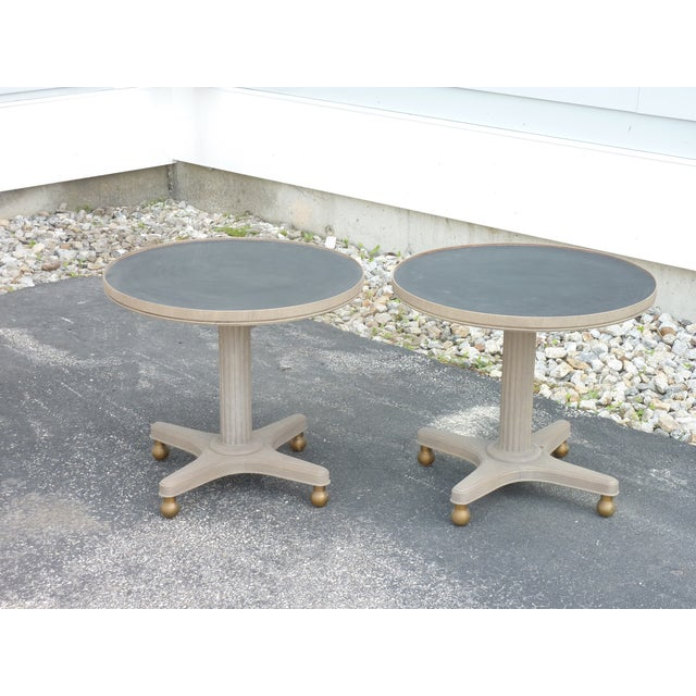 Black Mid-Century Modern Gray Wooden Round Tables - a Pair For Sale - Image 8 of 8