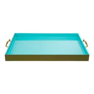 Large Tray in Olive Green / Tiffany Blue - Pentreath & Hall for The Lacquer Company For Sale