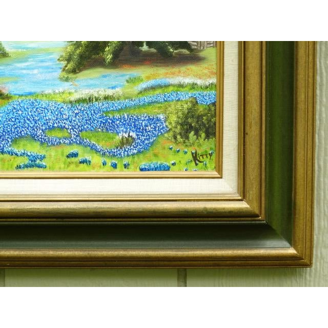 1960s Countryside Bluebonnet Landscape Original Oil Painting For Sale - Image 5 of 13