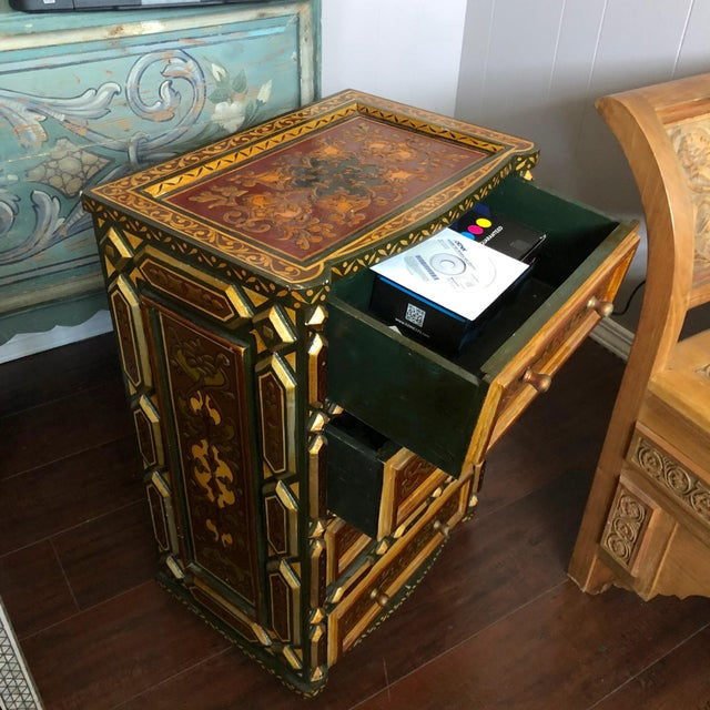 Wood 1980's Vintage Hand Painted Moroccan Style Chest For Sale - Image 7 of 8