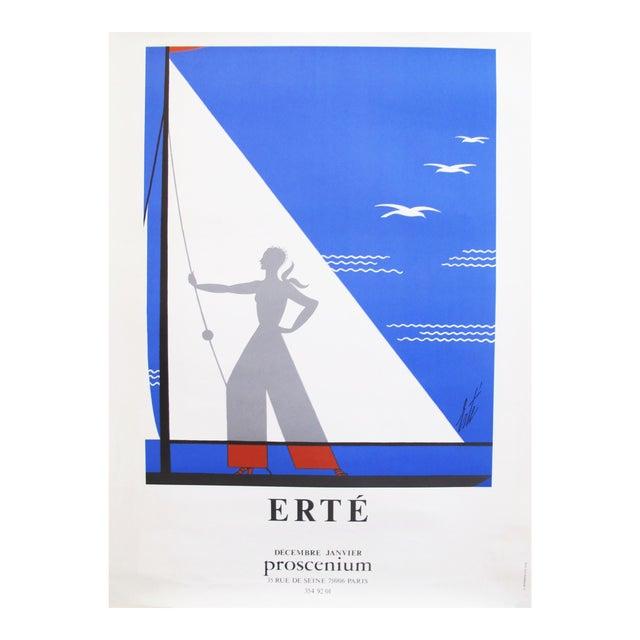 1978 Erte Exhibition Poster, Art Deco Sailing For Sale