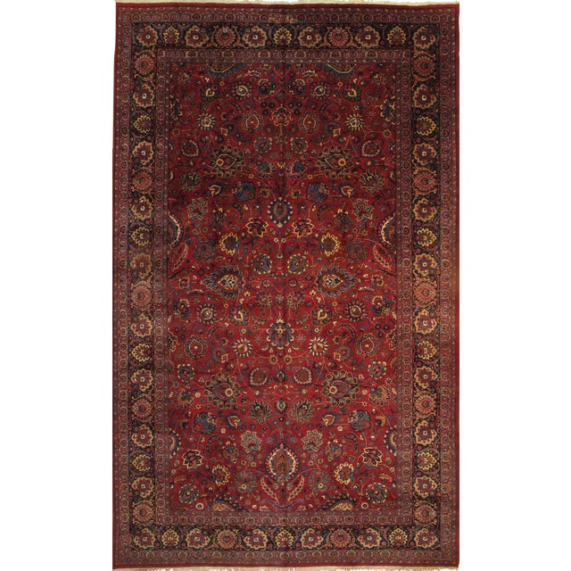 "Islamic Pasargad Persian Mashad Hand Knotted Rug - 10'2"" X 16'8"" For Sale - Image 3 of 3"