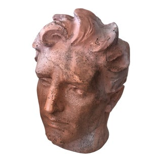 Modern Fiberglass Head Terra Cotta Finish Bust For Sale
