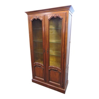 Mid 20th Century Baker French Style Cherry China Cabinet For Sale