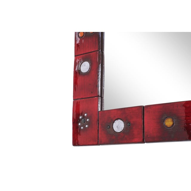 Glass Ceramic Tile Mirror by Oswald Tieberghien in Red Glaze For Sale - Image 7 of 10