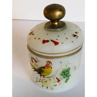 Set of Vintage French Opaline Hand Painted Glass Perfume & Powder Bottles Preview