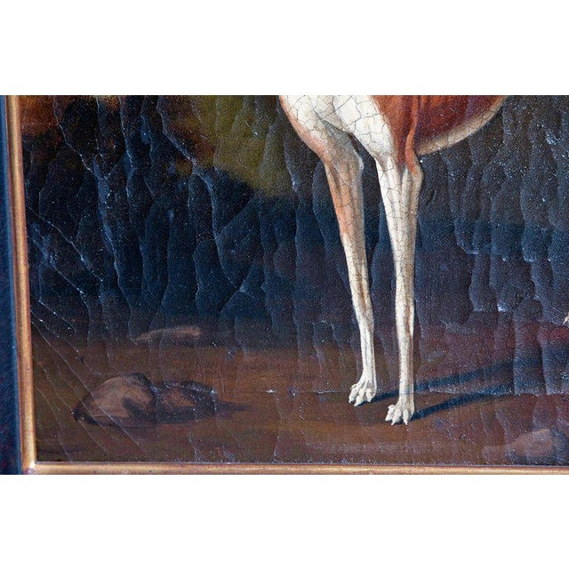 Blue 19th Century English Oil on Canvas of Whippet in a Landscape For Sale - Image 8 of 13