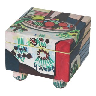 Hand Painted Trinket Box With Still Life of Fruit For Sale