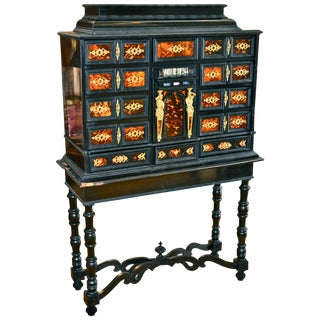 18th Century Italian Ebony and Bronze Vargueno Cabinet For Sale