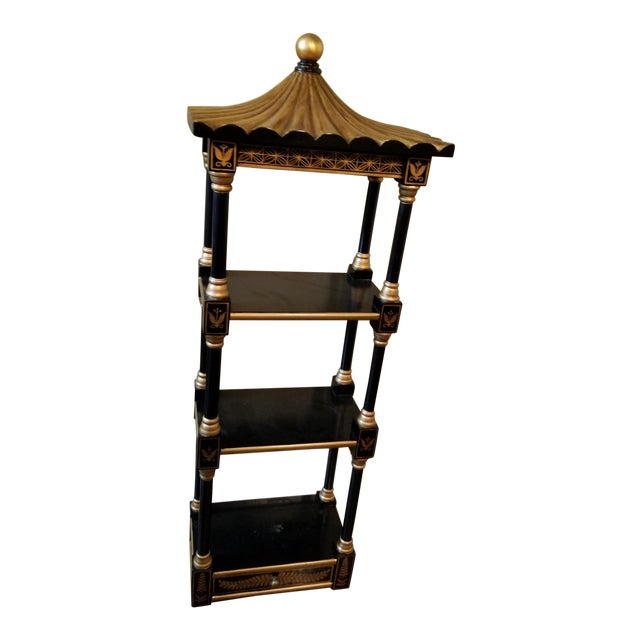 Last Call Black & Gold Asian Shelving Unit For Sale