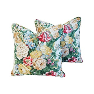 "Schumacher Floral Bouquet Feather/Down Pillows 19"" Square - Pair For Sale"