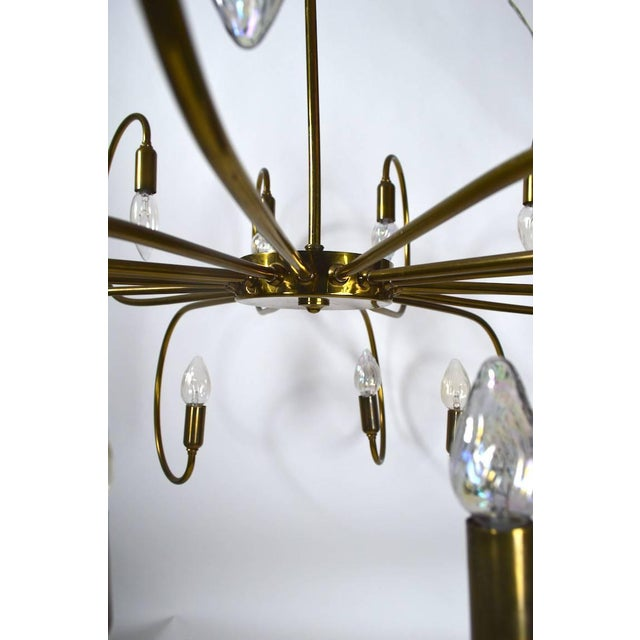 Metal Large Eighteen-Light Brass Chandelier After Sarfatti For Sale - Image 7 of 8